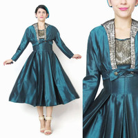 Vintage 1950s Taffeta Party Dress with Matching Bolero Jacket Forest Green Dress Suit Set Lace 1950s Fit and Flare Dress Bombshell (XS)