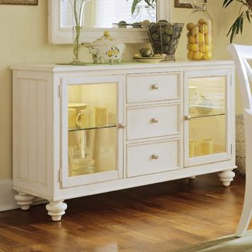 American Drew Camden-Light China Buffet/Credenza in White Painted