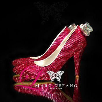3.5 heels Fuchsia Crystals with AB crystal bows Luxury by MDNY