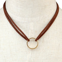 Artificial Leather Circle Layered Necklace