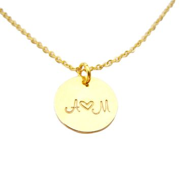 Initial Disc Necklace - Initial Necklace - Personalized Necklace - Couples Initials - Disc Necklace - Heart Necklace - Gift for Her