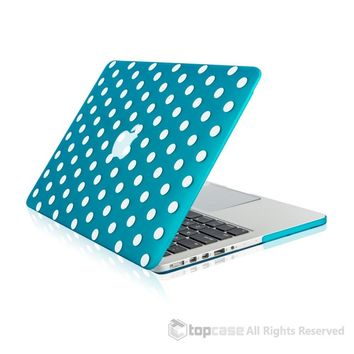 """Aqua Blue Polka Dot Design Ultra Slim Light Weight  Hard Case Cover for Apple MacBook Pro 13.3"""" with Retina Display Model: A1425 and A1502"""