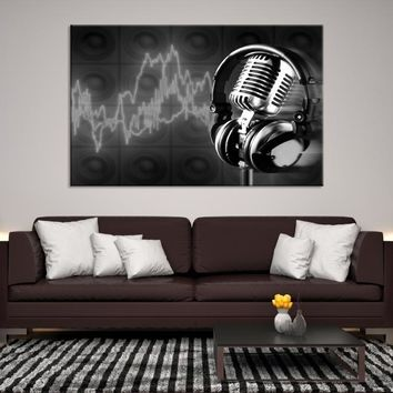 80143 - Retro Microphone and Headphones Canvas Print, Vintage Microphone Wall Art, Framed Canvas Print, Home Decor Wall Art, Large Canvas, Large Wall Art, Office Decor