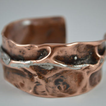 Gorgeous Rustic Copper Cuff, Rustic Copper Bracelet, Rustic Cuff Bangle, Copper Cuff, Copper Jewelry, Handcrafted Jewelry, Unisex Jewelry