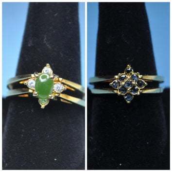 AVON Vintage Gold Plated Genuine Jade and Hematite Double Band, Reversible Flip Cocktail Ring, Size 10, IOB-2 Beautiful Rings in 1! #A596