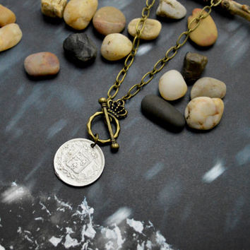 A-119 Antique coin necklace, Chunky necklace, Antique bronze necklace, Modern necklace/Bridesmaid/gifts/Everyday jewelry/