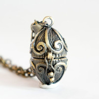 Tiny Egg - Vintage Style Antiqued Brass Egg Locket Necklace - LN007