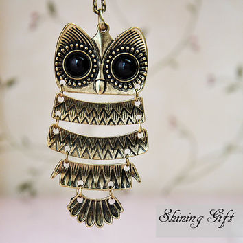 Vintage style Owl necklace by Shininggift on Etsy