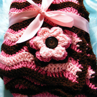 Wavy Baby Blanket with Flower Two tone Pink and Brown (MADE TO ORDER) Photo Prop or Baby Shower Gift