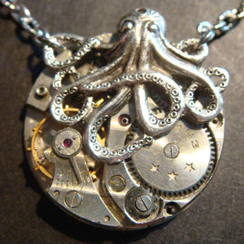 Steampunk Octopus Necklace on Vintage Watch Movement with Exposed Gears - Neo Victorian-Upcycled (386)