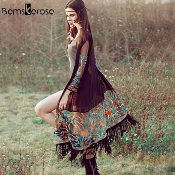 Bamskarosa Bohemian Style 2017 Summer Kimono Cardigan Casual Fashion Boho Hippie Embroidery Tassel Ladies Shirts Women Tops