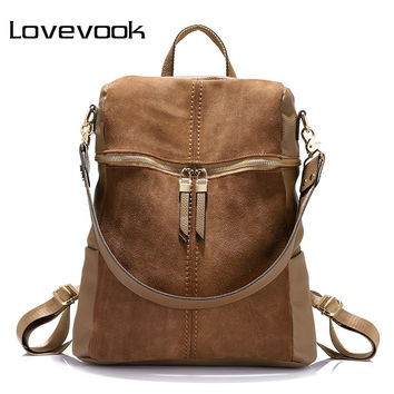 LOVEVOOK brand vintage women backpack nubuck leather+PU school backpacks for teenage girls casual large capacity shoulder bags