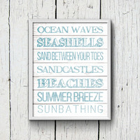 Beach Printable, Subway Art, Blue, Faded Wood, Wall Art, Digital Download Art, Seashells, Sandcastles, Beaches, Ocean, 8x10, Bathroom Print