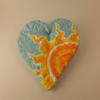 Hand Cast and Painted Sun Heart Leaf/Wall Hanging/Art