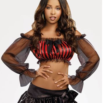Striped Peasant Top Costume Starter (Medium/Large,Black)