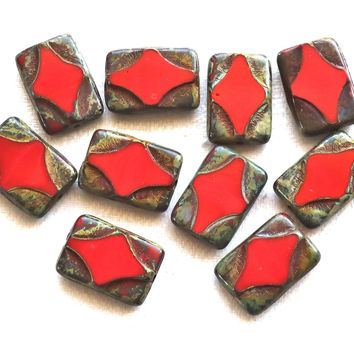 Five 16 x 11mm opaque red Czech glass rectangle beads, , rectangular, carved, table cut beads with a picasso finish C51101