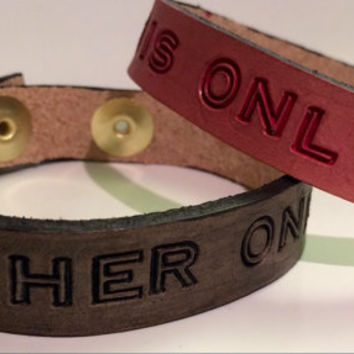 Matching Bracelets For Couples, Personalized Leather Bracelet, Handstamped Couples Bracelet, Her One His Only