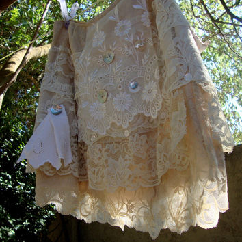 Layer cake skirt cream lace tattered mini skirt wedding cake tiers eco chic size medium off white beige shabby chic cottage chic romantic