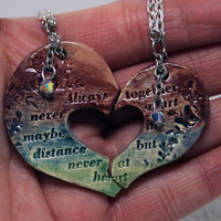Friendship necklaces Set of 2 Friendship Quote heart H44