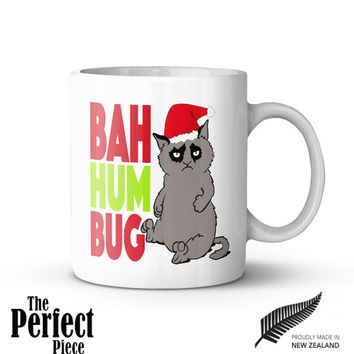 Grumpy Cat Bah Humbug Mug - Quote Mug, Unique Coffee Mug, Gift Mug, Gift Idea for Her, Gift for Him | Christmas Gift