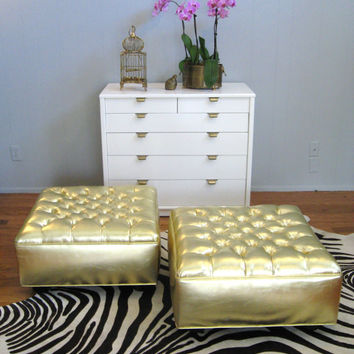 Vintage HOLLYWOOD REGENCY Gold Button TUFTED by fabulousmess