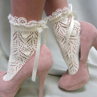 "Paris peek a bow Lace socks for heels CREAM Baby doll, 80""s inspired retro crochet lace socks flats or heels catherine cole studio"