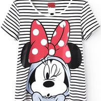 Mickey Mouse Print Striped Short Sleeve T-shirt