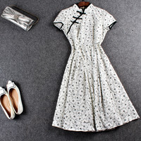 White Floral Print Cap-Sleeve Chinese Dress