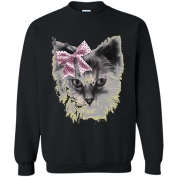 Cute Kitten Cat Animal Head Bow Cats T-shirt For Women Girls