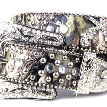 Camouflage Leather Bling Rhinestone Gun Pistols Belt