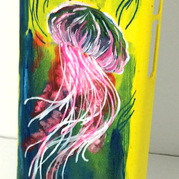 Acrylic Artist Painted Jellyfish iphone 5c Case, Saturated Jelly Fish Colorful iPhone 5c Case,Hand Painted Acrylic Yellow Blue and Pink case