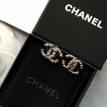 Chanel crystal pearl stud earrings for cartilage