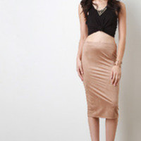Women's Vegan Suede Midi Skirt