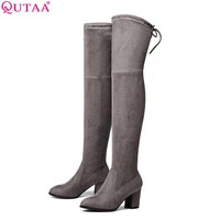 QUTAA 2017 Ladies Autumn/Spring Shoes Square High Heel Women Over The Knee Boots Scrub Black Woman Motorcycle Boots Size 34-43