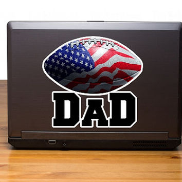 USA Football Dad digitally printed vinyl decal, realistic football with US flag inside car window decal, proud football Dad sticker