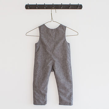 Charcoal Flannel Overalls - boy/girl