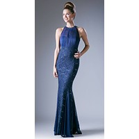 Halter High Neckline Long Formal Sheath Dress with Godets Navy Blue