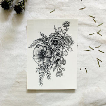 "Large Floral Temporary Tattoo Botanical Bunches Design 3.5"" x 5"""