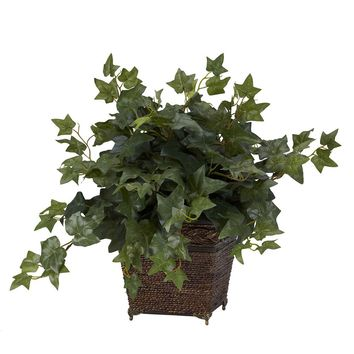 Silk Flowers -Puff Ivy With Coiled Rope Planter Artificial Plant