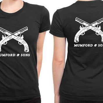 ESBH9S Mumford And Sons Logo Two Pistol 2 Sided Womens T Shirt