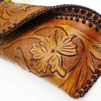 Tan brown mens leather glasses case hand carved