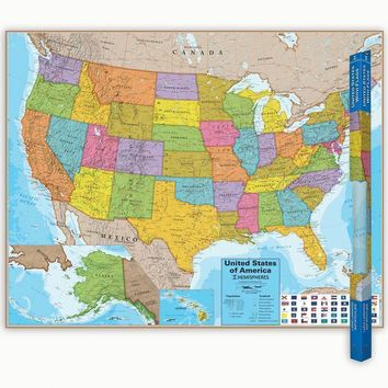 HEMISPHERES LAMINATED MAP UNITED