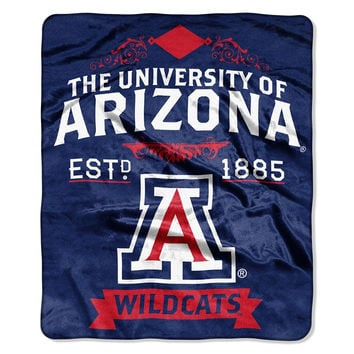 Arizona Wildcats NCAA Royal Plush Raschel Blanket (Label Series) (50x60)