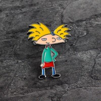 Trendy Cartoon boy Hey Arnold Brooch Metal Enamel Pin Button Denim Jacket Shirt Pin Badge Icon Fashion Jewelry for Boy Girl Kids Gift AT_94_13