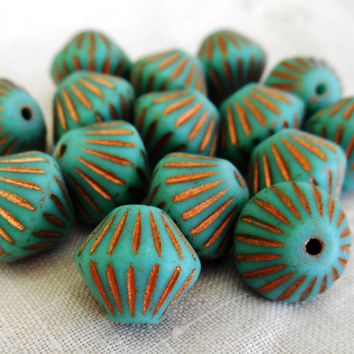 Five 11mm x 10mm Matte Turquoise, Copper accents bicone, carved, rustic pressed glass Czech beads, C5601