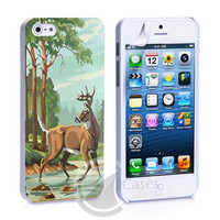 Vintage Paint By Number Deer iPhone 4, 4S, 5, 5C, 5S Samsung Galaxy S2, S3, S4 Case