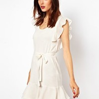 French Connection Frill Sleeve Mini Dress