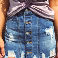 End Of Time Skirt: Denim