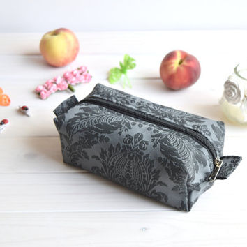 Damask box pouch zippered, Boxy pouch, Cosmetic pouch, Make Up Pouch, Toiletery bag, Project bag, Charger bag, Pencil box pouch, Travel bag