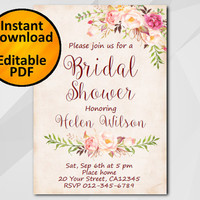 Editable Bridal Shower Invitation, Watercolor, Instant Download diy wedding, etsy Bridal Shower invitation XB302p-4